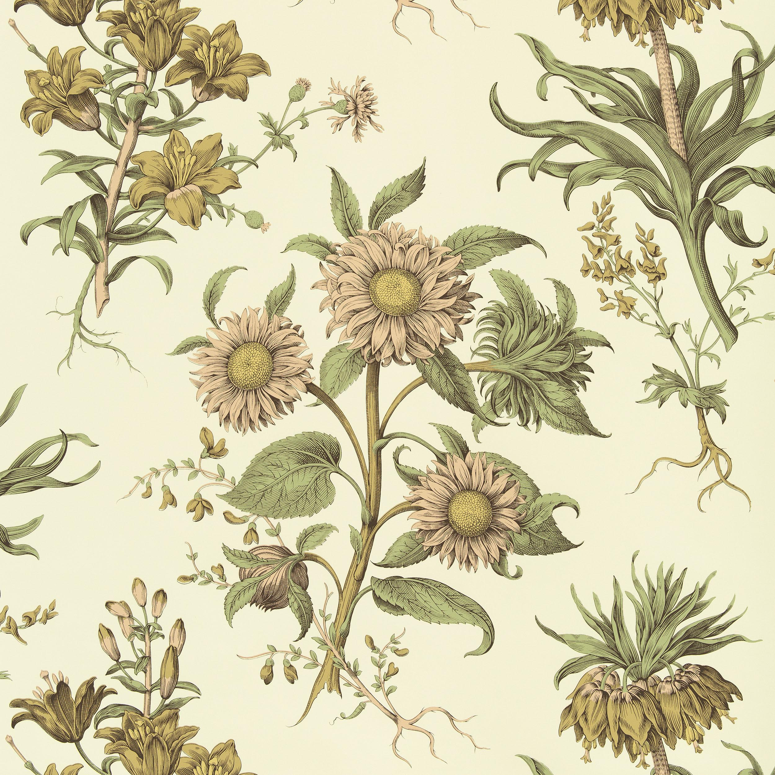 BOTANIQUE SPECTACULAIRE ROSE GREEN 0 Home Designer Wallpaper Collection COWTAN TOUT